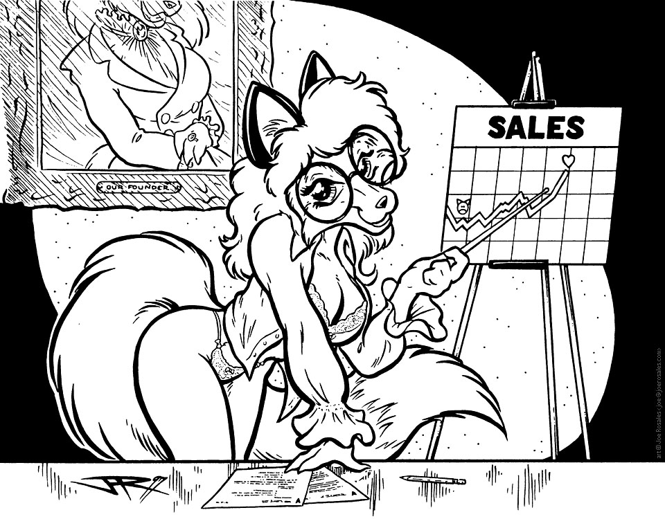 business fox pinup